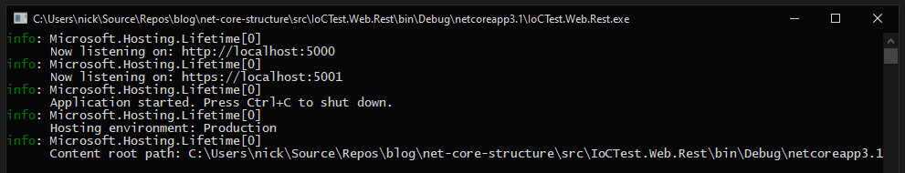 Example of an ASP.NET Core application running as a console application.